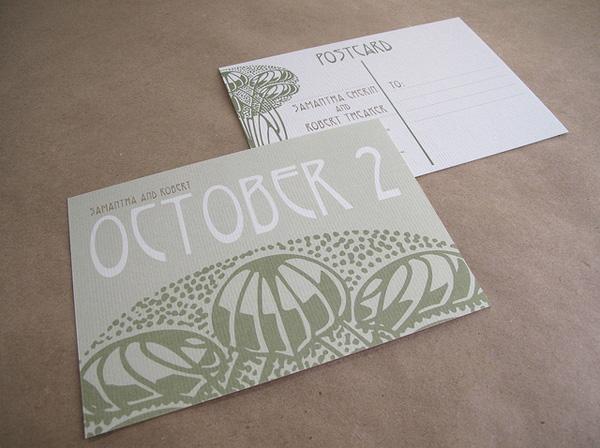 Self Mailing Wedding Invitations Art Nouveau