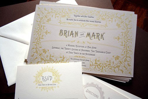 Letterpress And Screen Printed Wedding Invites