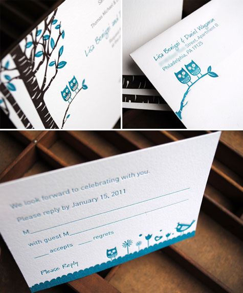 Cute Bride And Groom Wedding Owls Free Invitation Template