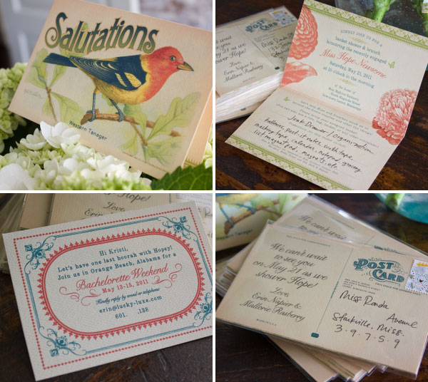 Vine Bird Postcard Bridal Shower Invitations