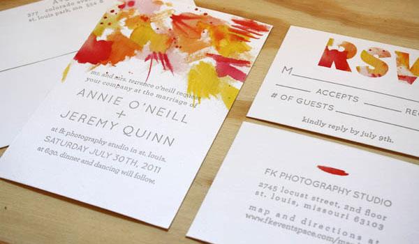 Printerette Press Watercolor Letterpress Invitations Wedding Invites