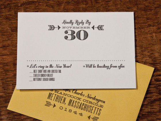 New Year S Eve Wedding Invitations Cut Belly Band Letterpress Typography Invites Reply Card