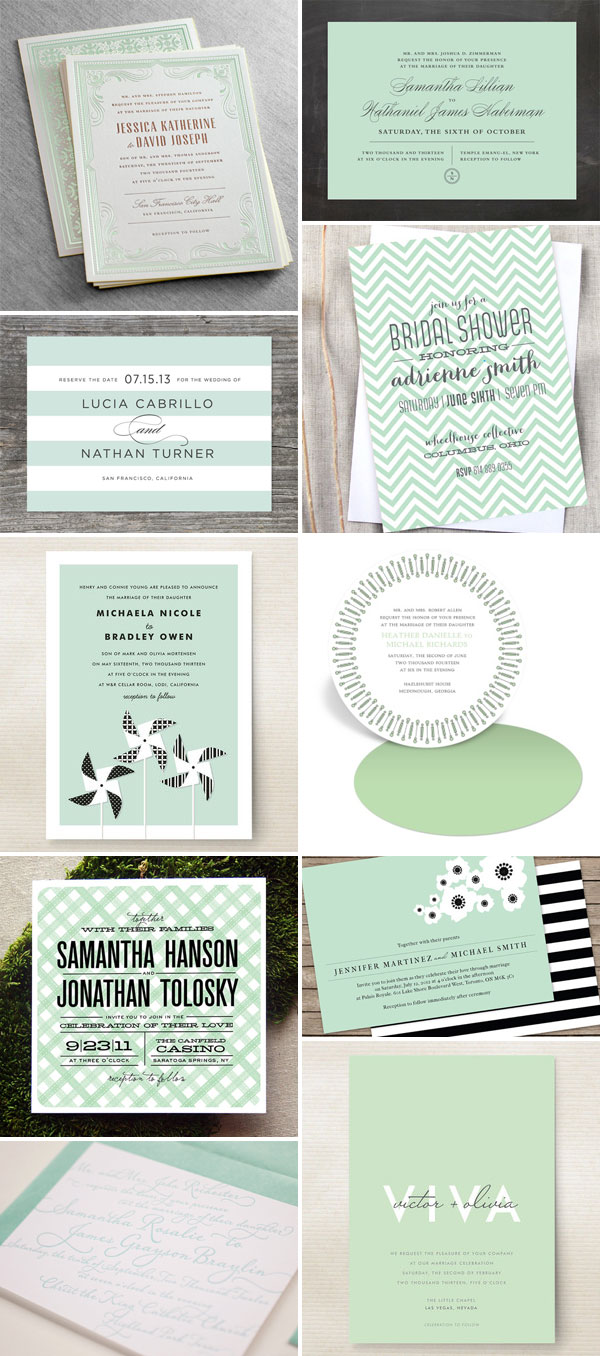 Erin Minimal Mint Green Wedding Invitation