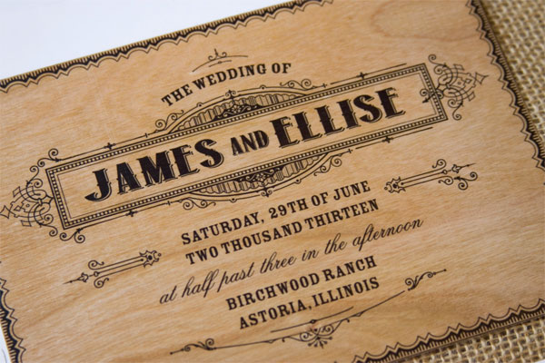 Wood Wedding Invitations Clic