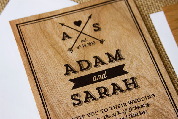 Modern Monogram Wood Wedding Invites The Paper Paramour