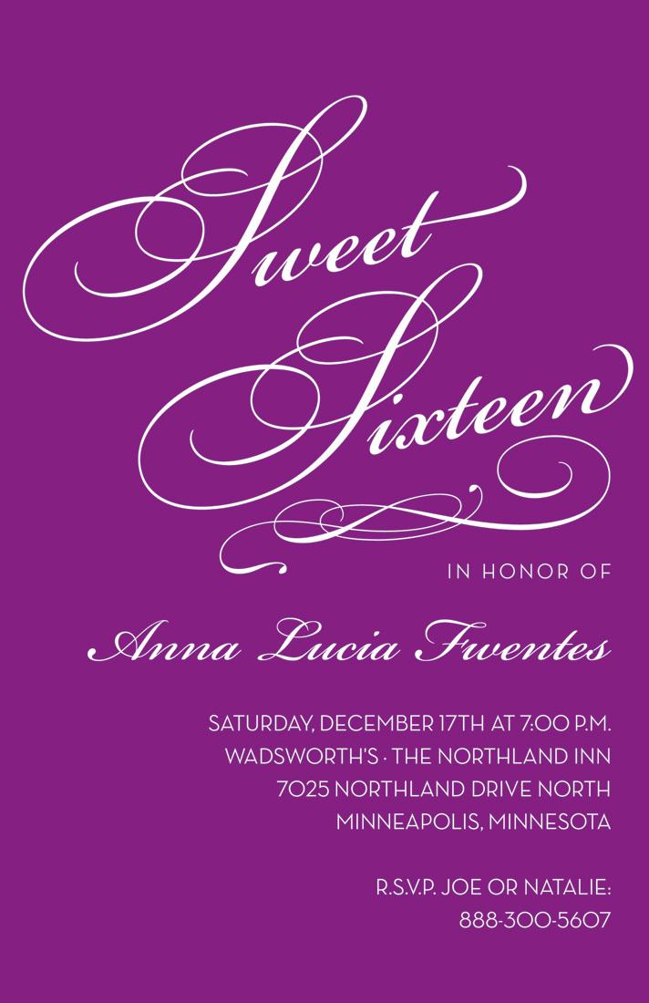 fancy sweet sixteen purple birthday