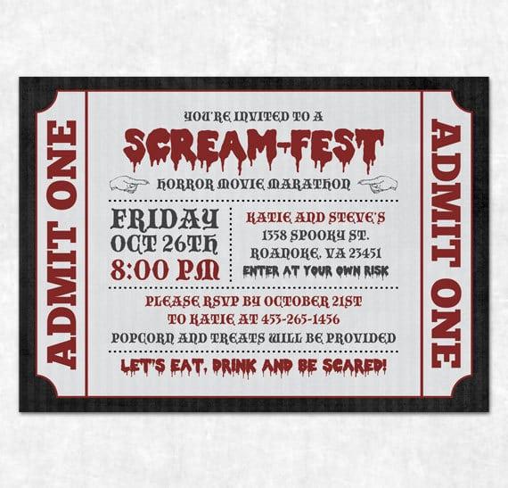 Movie Invitation Template Free movie birthday invitation – Movie Ticket Invitations Printable Free
