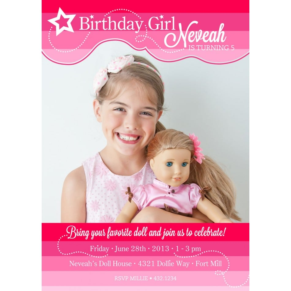 Party Girl Doll American Invitations