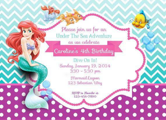 Little Mermaid Birthday Invitations Photo Free