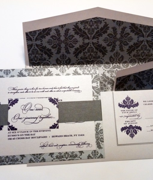 Silver Damask Wedding Suite | damask, silver, purple, suite