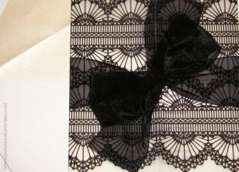 Kaitlin Wedding Invitation Card black lace vellum wrap overlay, organza ribbon bow, swarovski crystals rhonestones