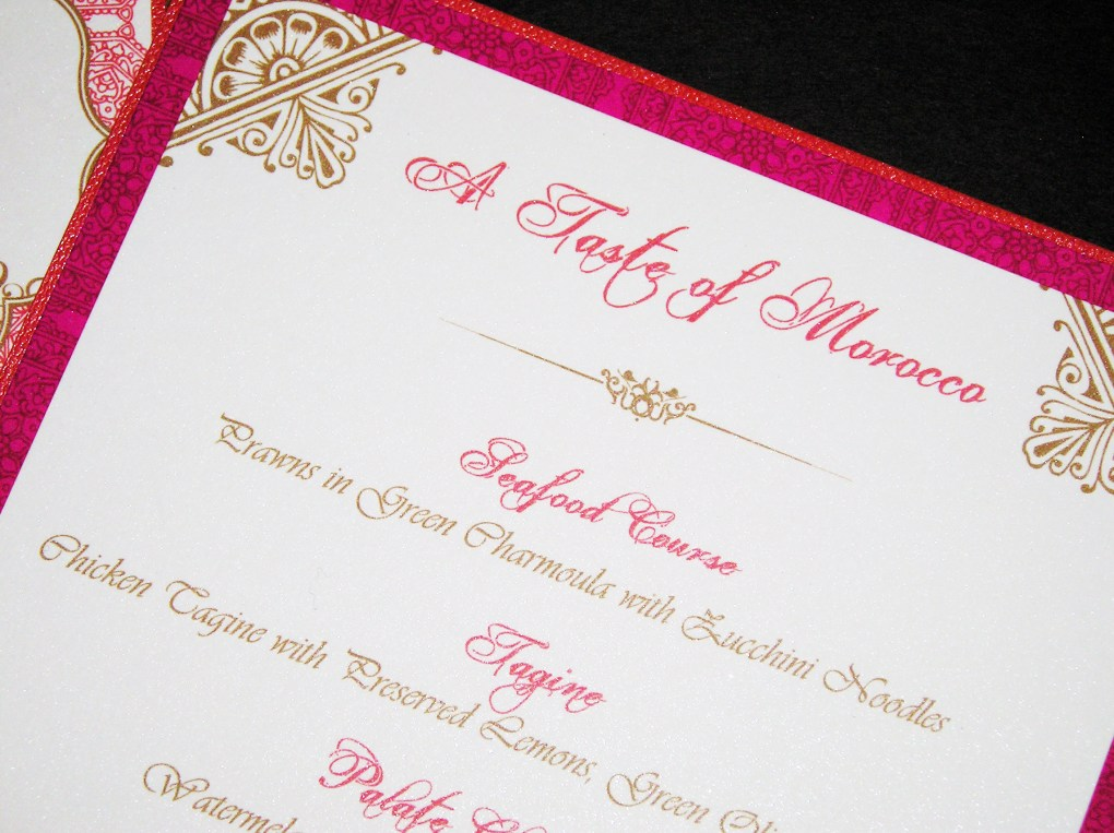 Moroccan Party Menu Card