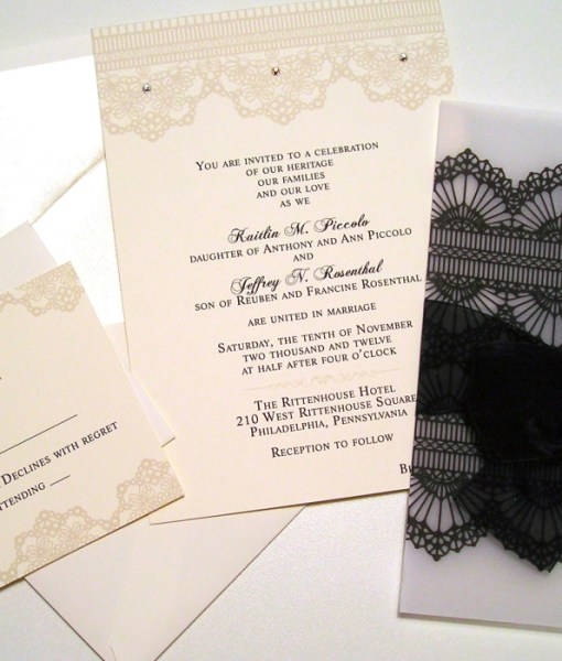 Kaitlin Wedding Invitation Card black lace vellum wrap overlay, organza ribbon bow, swarovski crystals rhonestones