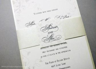 White Wedding Invitation | metallic, banded