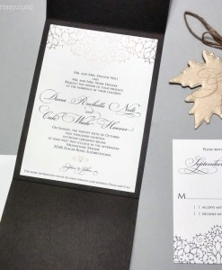 Dana Wedding Invitations Suite | Wood grain pocketfold wedding invitation featuring gold leaf with monogram.