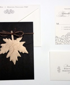 Dana Wedding Invitations Suite | wood grain card gold leaf monogram hemp twine brown