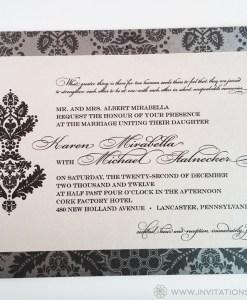 Karen Wedding Invitation | silver, gray, grey, metallic, shimmer, belly band, damask pattern, lined envelope