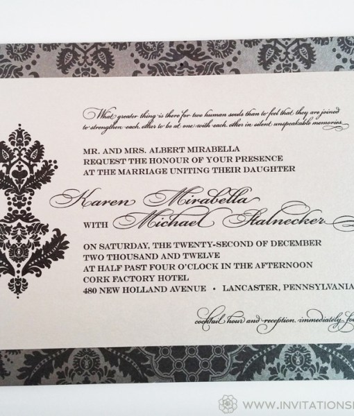 Karen Wedding Invitation | silver, gray, grey, metallic, shimmer, belly band, damask pattern, lined envelope