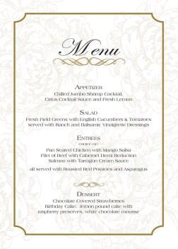 Brenda Birthday Party Stationery menu