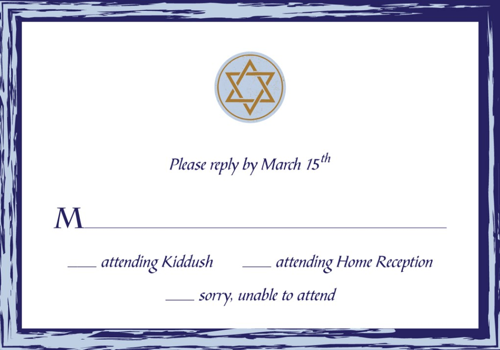 Michael Bar Mitzvah Invitation RSVP Card