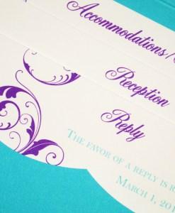 Blue and Purple Wedding Invitations | turquoise blue pocket card, purple flourishes