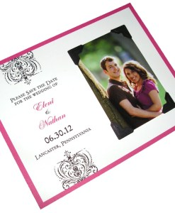 Save the Date Photo Cards | wallet photo, black ornate design, magenta border