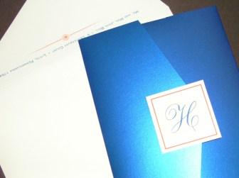 Blue Wedding Invitations | shiny metallic blue pocket card, coral orange flowers, monogram | Blue and Orange Pocket Wedding Invitations | wedding colors