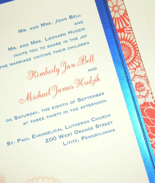 Blue Wedding Invitations | shiny metallic blue pocket card, coral orange flowers, monogram