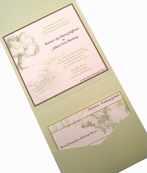Wedding Invites - Groom's Artwork | green pocket fold invitation, purple border, tree, lake, drawing