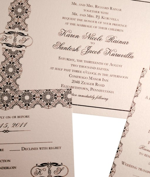 Elegant Wedding Invitations | metallic paper, black and cream, monogram, ornate design, script