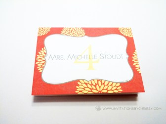 Jill & Jared Table Name Card Red (Single)