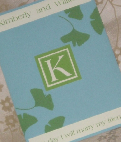 Kim Wedding Invitation Cards | green ginkgo leaf leaves, blue wide belly band, monogram