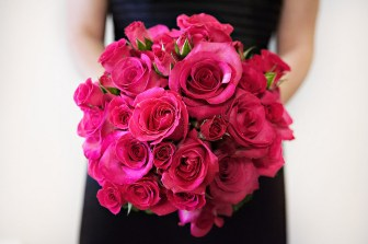 bride pink roses wedding bouquet