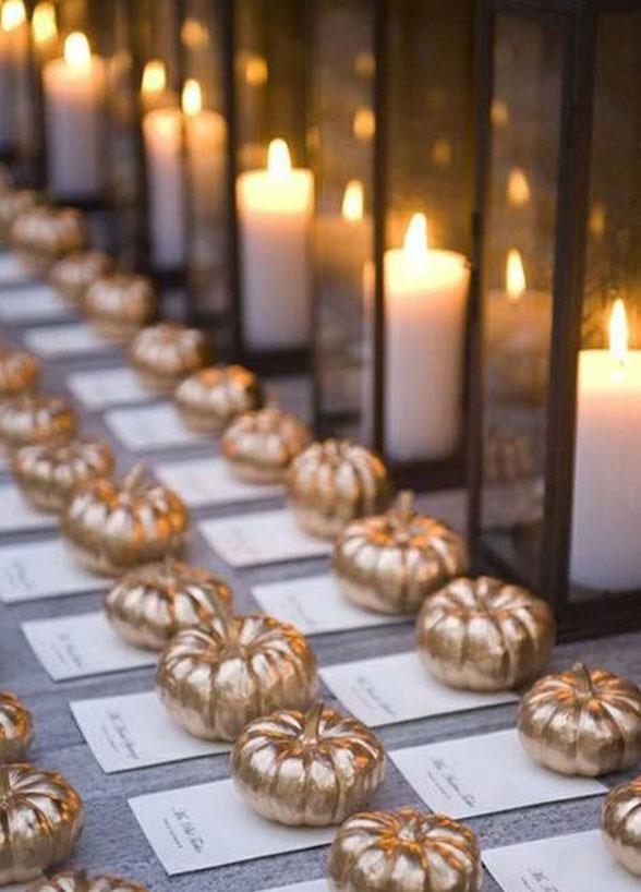 Fall Wedding ideas | gold pumpkins