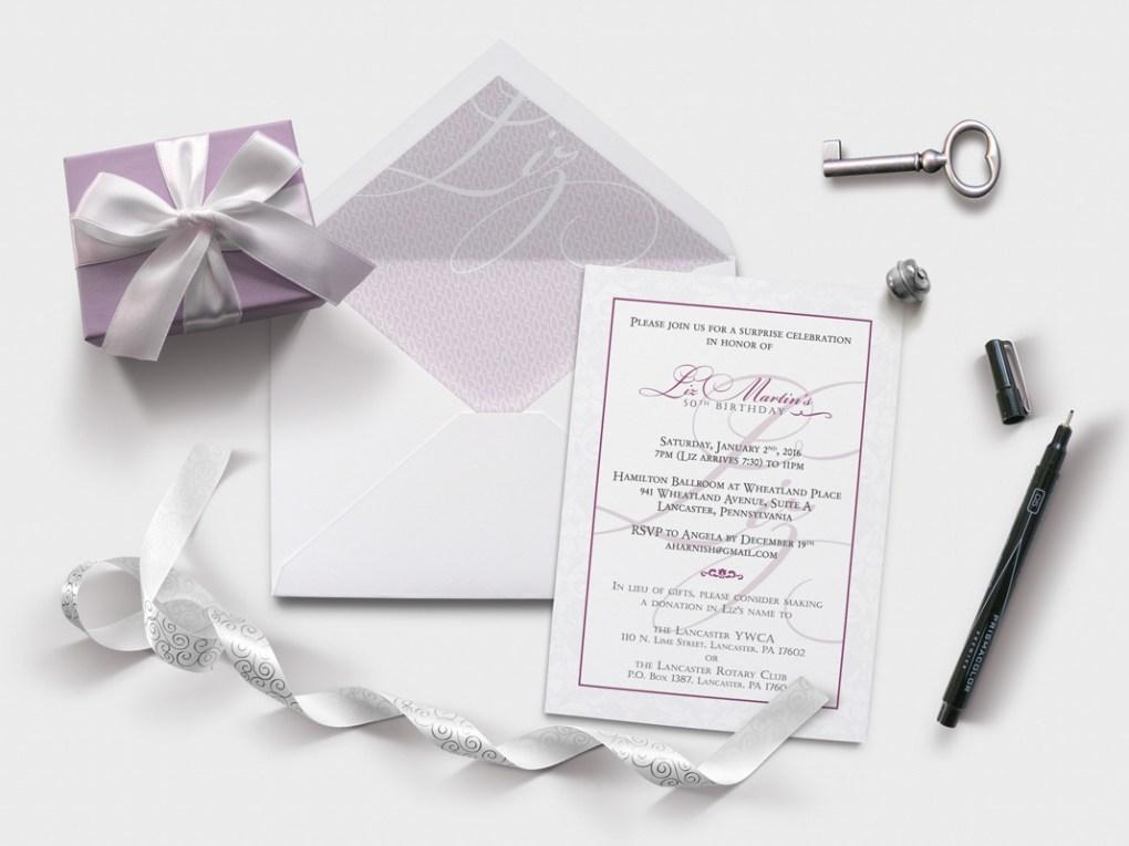 50th birthday invitation close up | purple gray script
