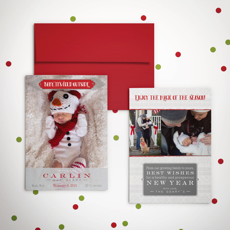 christmas holiday baby birth announcement holiday winter