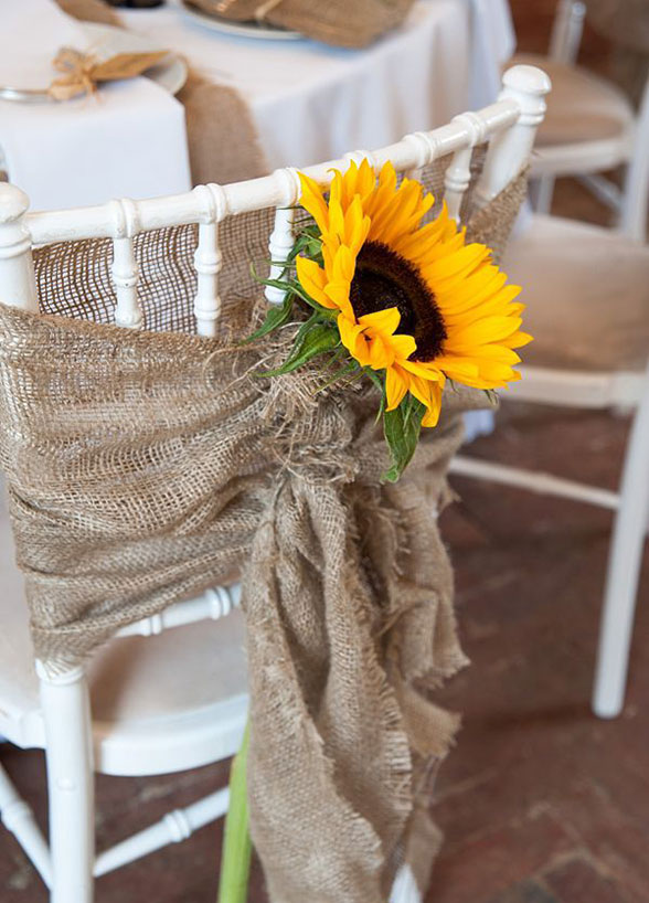 fall wedding sunflower burlap reception chair wrap decoration decor