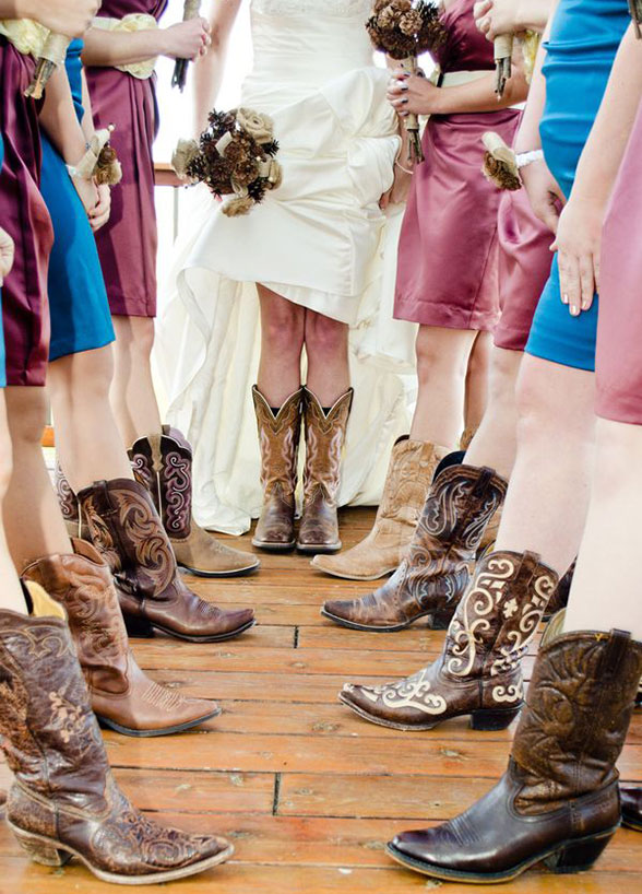 fall wedding cowgirl boots western cowboy bridesmaids bride