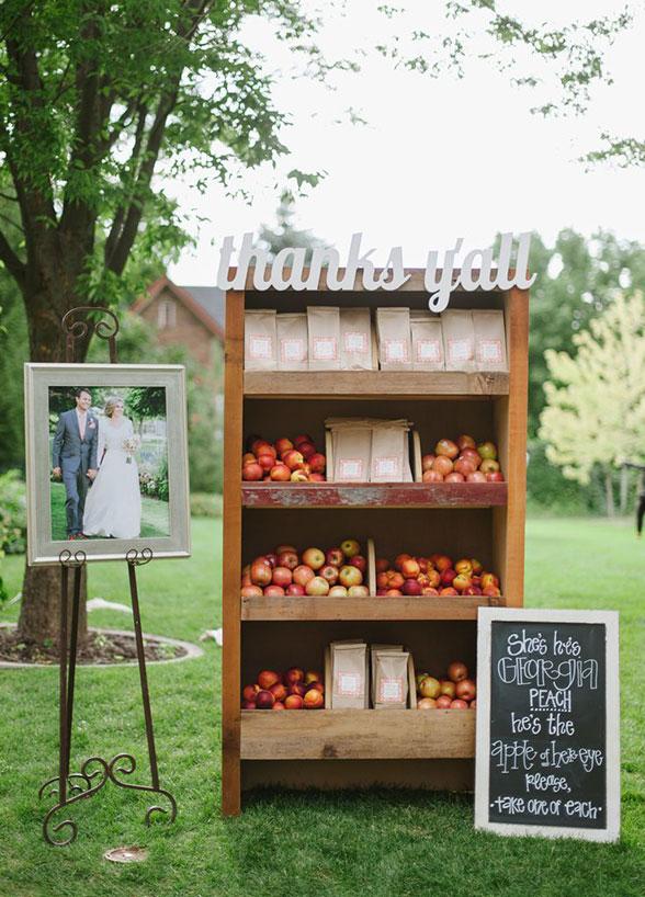 fall wedding decor apples peaches favor display antique vintage cabinet reception