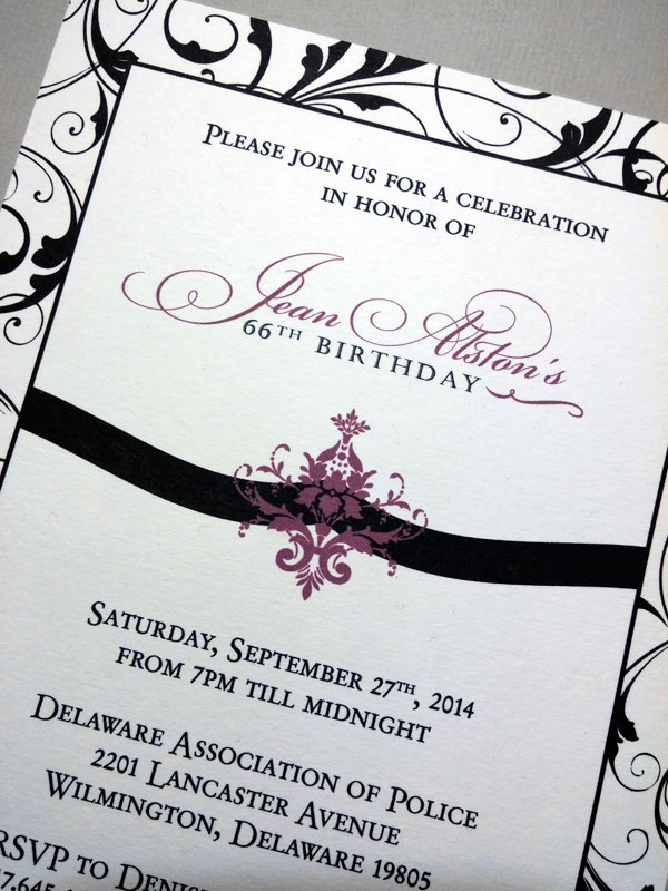 jean alston birthday party invitation close up purple damask black flourish photo card double-sided