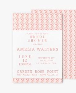 mid century modern circles bridal shower invitation stationery pink dogwood