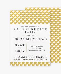 mid century modern circles bridal shower invitation stationery gold foil look