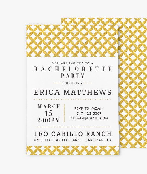 mid century modern circles bridal shower invitation stationery gold foil look