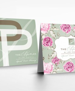 note cards for event planning company floral and logo