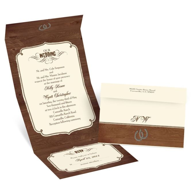 Rustic Wedding Seal And Send Invitation