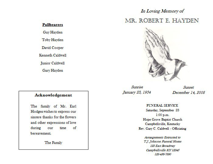 1000 images about memorial funeral programs on pinterest 20 – Free Template for Funeral Program