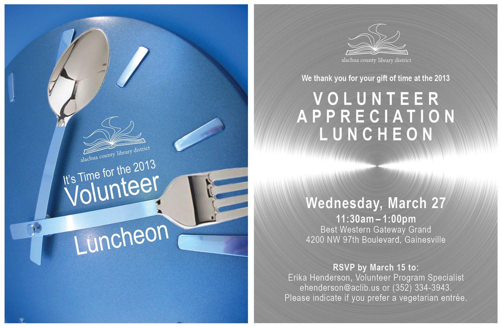 Volunteer Appreciation Luncheon Invitation Wording Inviviewco