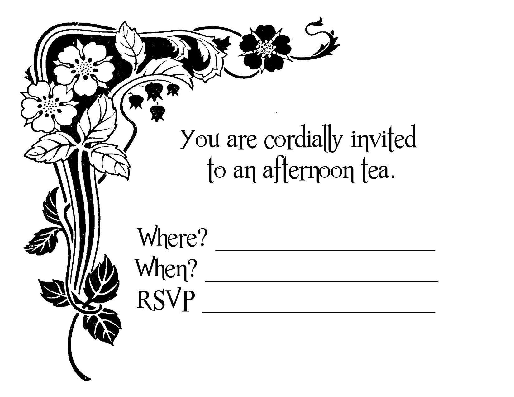 Tea Party Invitation Blank Templates