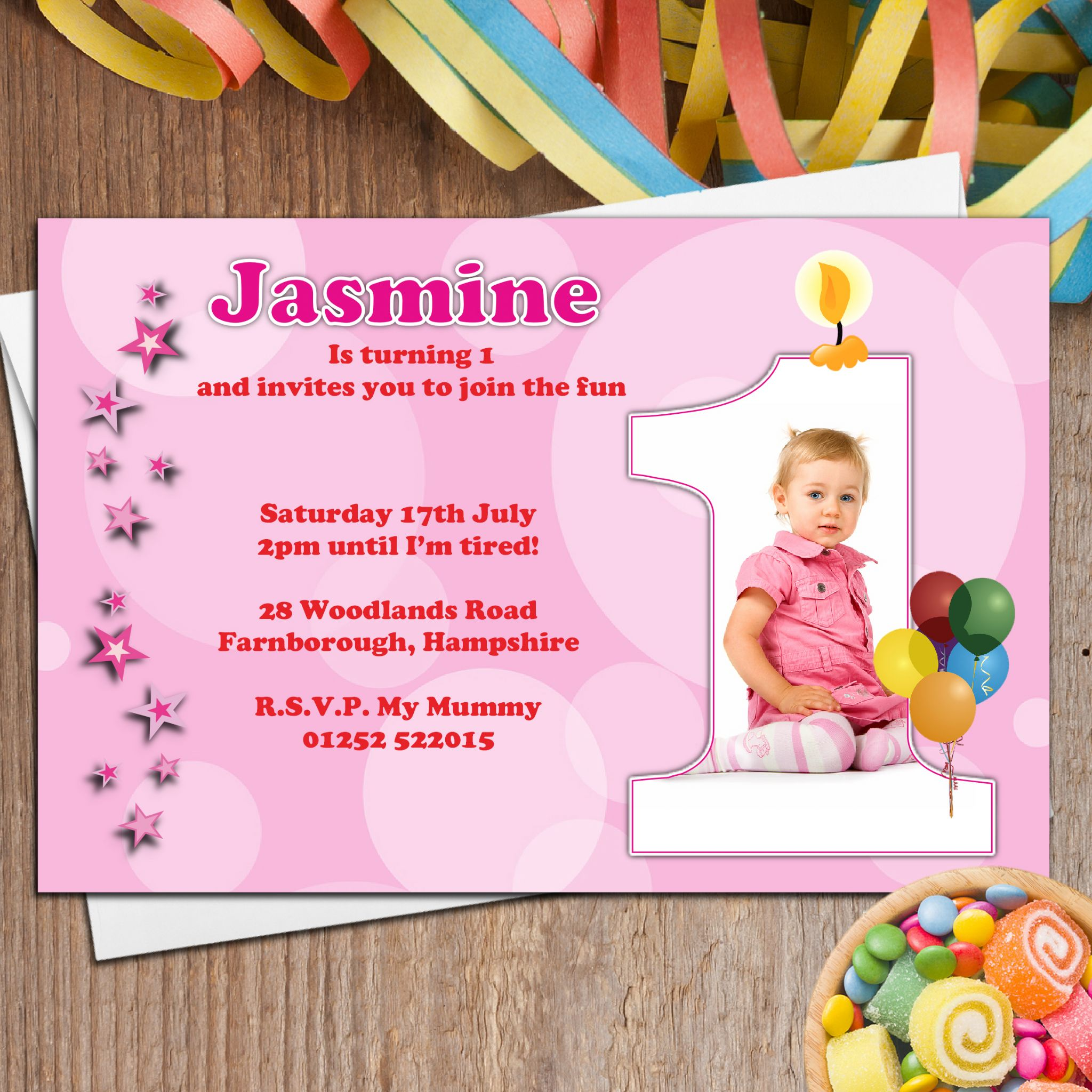 10 personalised girls first 1st birthday party photo invitations n20