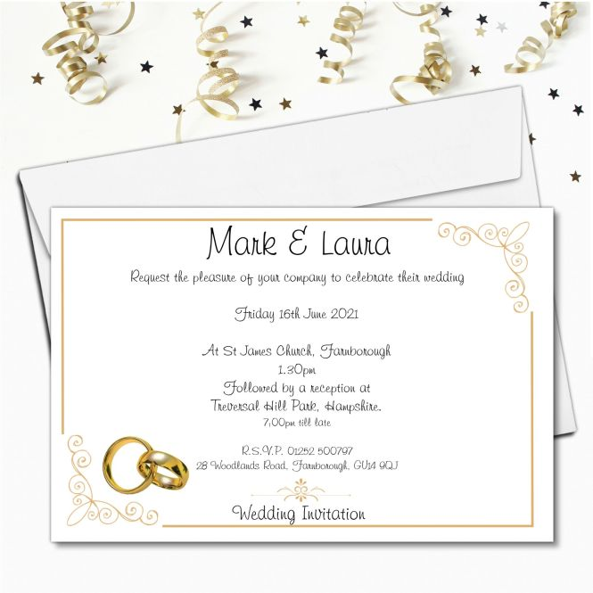 10 Personalised Gold Rings Wedding Invitations Day Evening N54